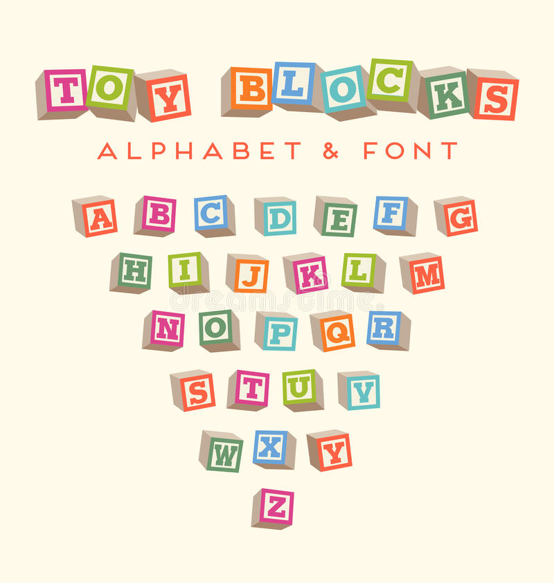 Colorful alphabet blocks baby blocks font. Alphabet baby blocks for scrapbooking and typography designs royalty free illustration