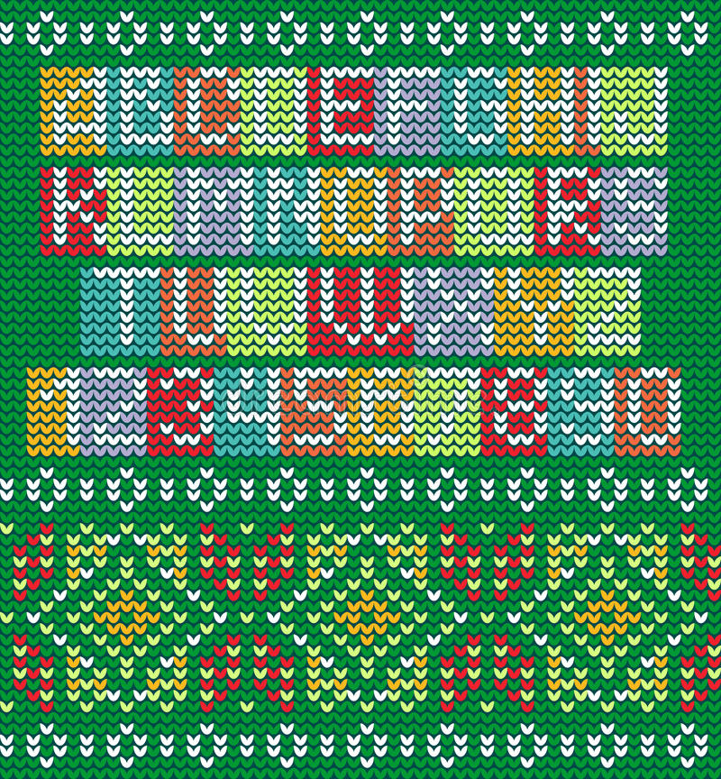 Colorful Alphabet And Knitted Seamless Ornament Stock Vector