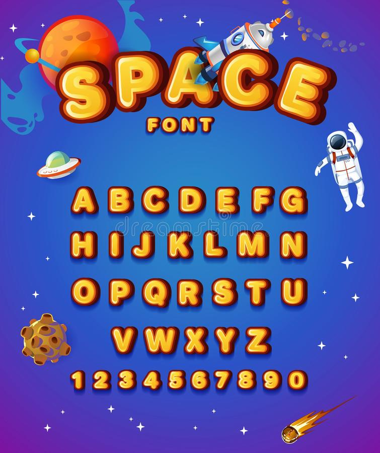 Colorful alphabet style with space elements. Space yellow font style with planets, astronaut, stars and spaceship. Cute alphabet royalty free illustration