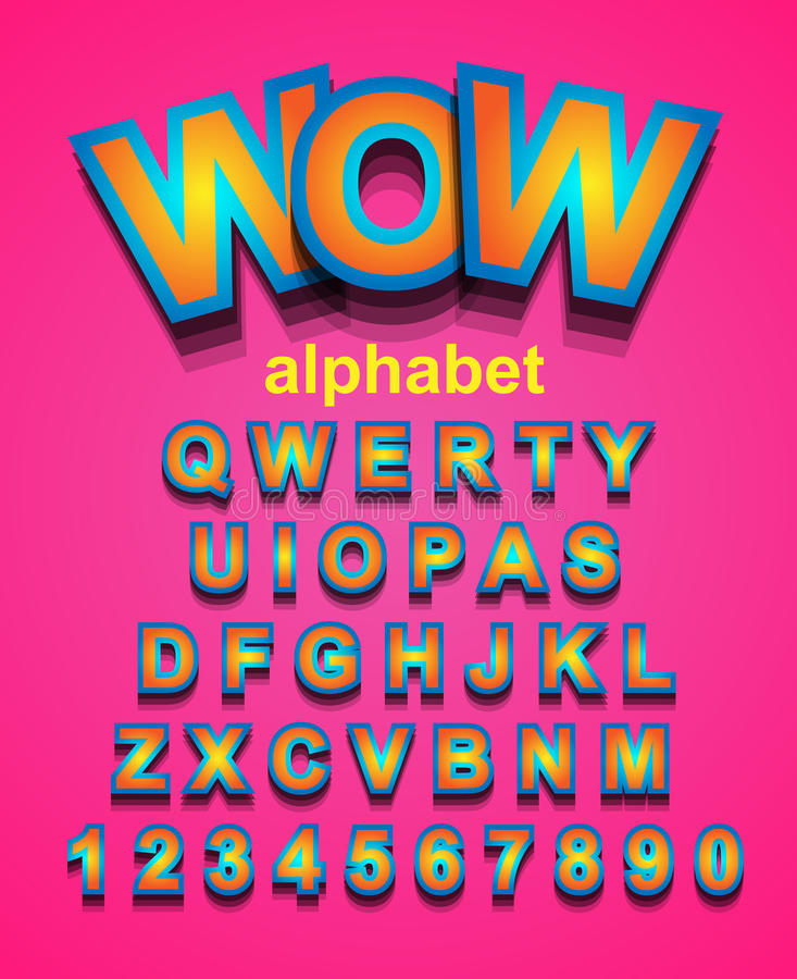 Colorful Alphapet Font to use for children's parties invitation stock illustration