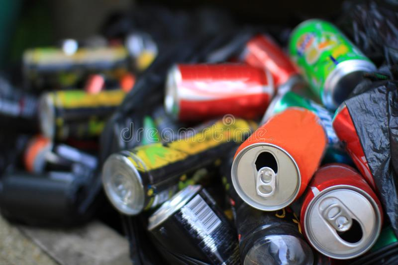 Colorful aluminum cans all together for recycling metal waste to help polution on Earth and to be environmentally friendly stock photos