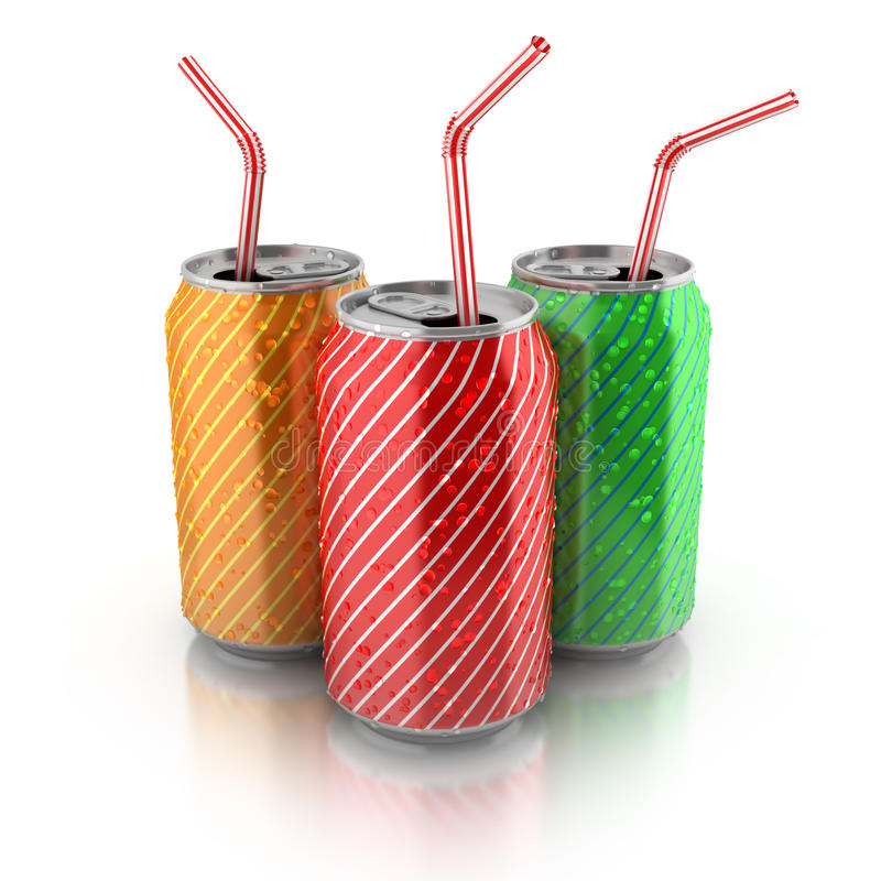 Colorful aluminum cans with straws stock illustration