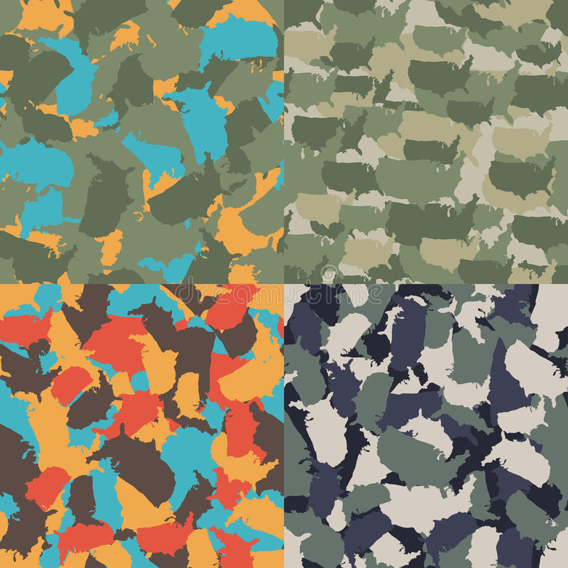 Colorful America urban camouflage. Set of USA shape camo seamless pattern. Vector fabric textile. Military print design royalty free illustration