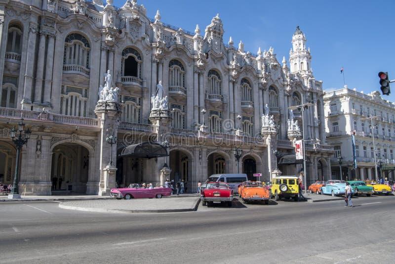 Colorful classic cars in front of Gran Teatro, Havana, Cuba stock photos