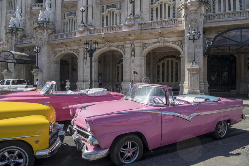 Colorful convertible classic cars in Havana, Cuba royalty free stock images