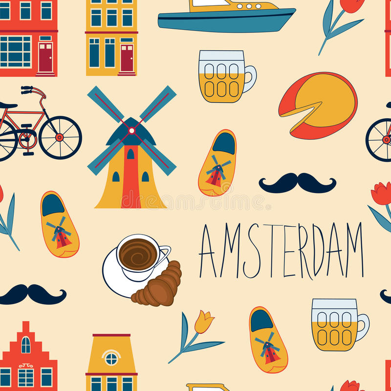 Colorful Amsterdam icons seamless pattern. Vector illustration royalty free illustration