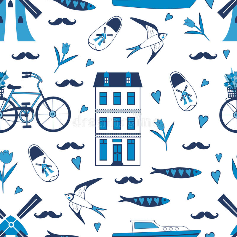 Colorful Amsterdam icons seamless pattern. Vector illustration stock illustration