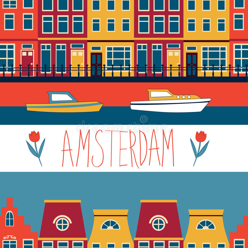 Colorful Amsterdam seamless pattern. Colorful Amsterdam streets and channels seamless pattern. Vector illustration royalty free illustration