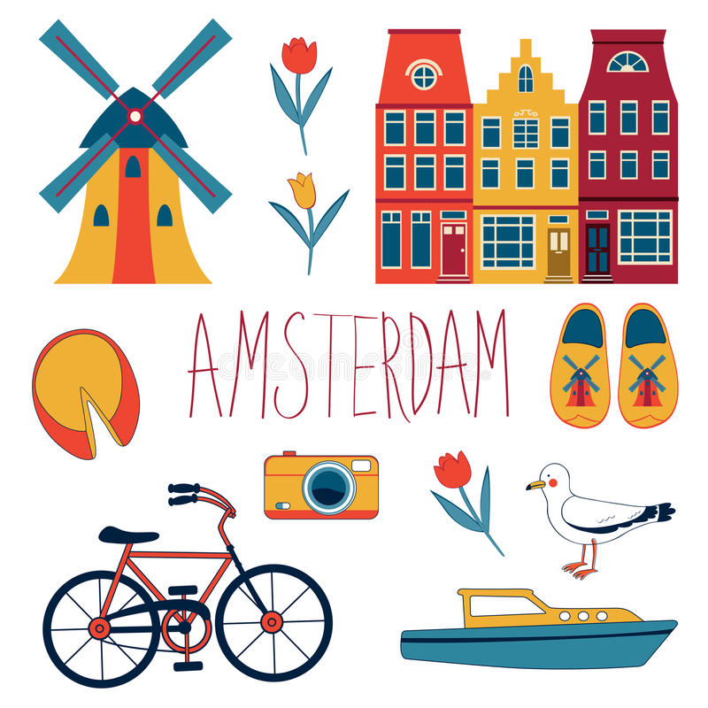 Colorful Amsterdam set. Colorful Amsterdam related icons set. vector illustration vector illustration