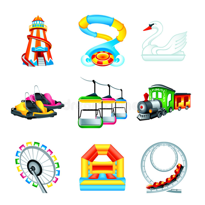 Attraction icons || Set II. Colorful amusement park or funfair attraction icons vector illustration