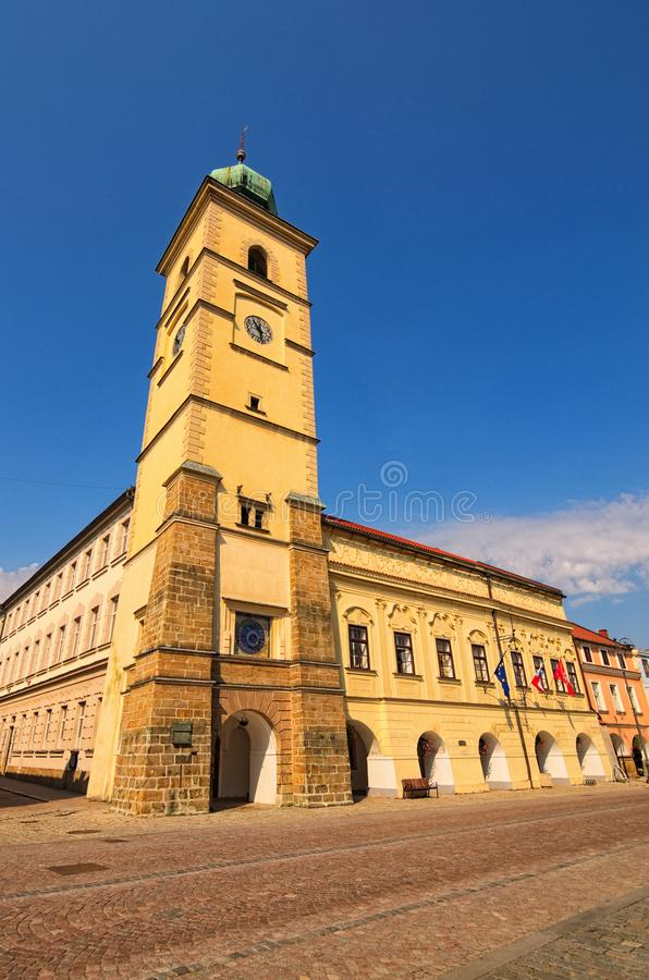 Colorful ancient Town hall against blue sky in summer day. Smetanovo square is main square in Litomysl, Czech Republic.  royalty free stock images