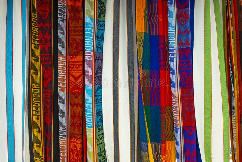 Colorful Andes Textiles on Otavalo Market, Ecuador stock images