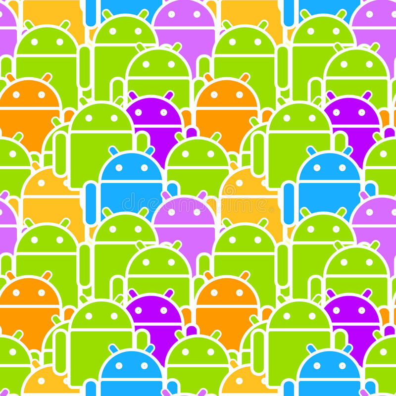 Colorful Android Mob Seamless. Colorful Android mob or team mobile os seamless background or pattern royalty free illustration
