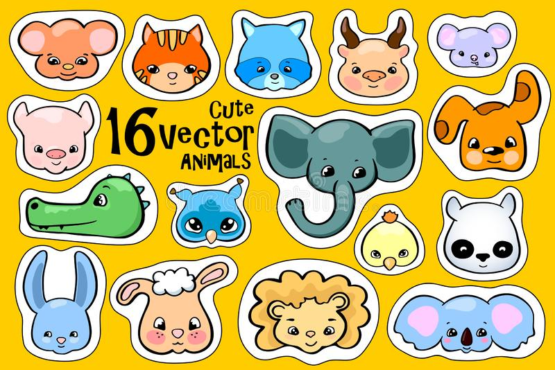 Colorful animal face stickers. Cute animal vector clipart. Little zoo icons with elephant, koala, racoon, monkey and pig royalty free illustration