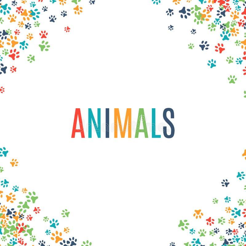 Colorful animal footprint ornament border on white background. Vector illustration for animal design. Random foot prints corner. Many bright trail. Frame of stock illustration