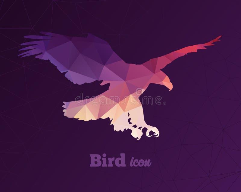 Colorful animal icon of triangles eagle. Colorful animal business icon of triangles eagle vector illustration