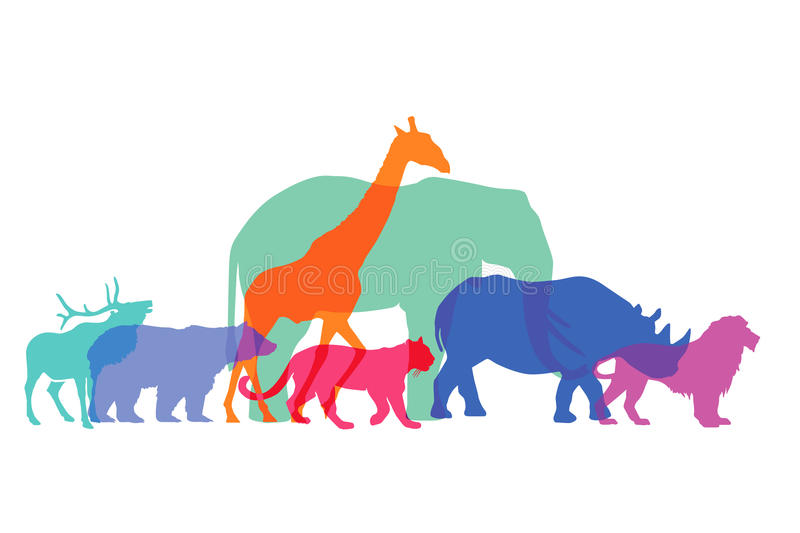 Colorful animal silhouettes stock illustration