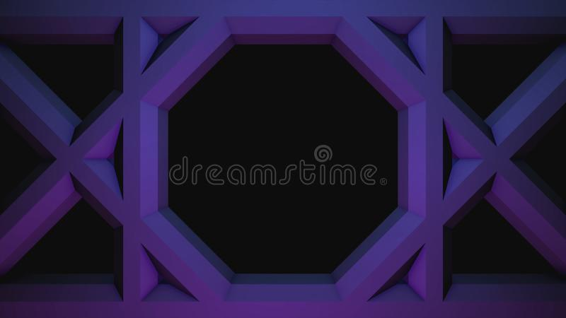 Colorful animation of moving squares with hexagons inside, seamless loop. Animation. Geometrical figures moving towards royalty free illustration