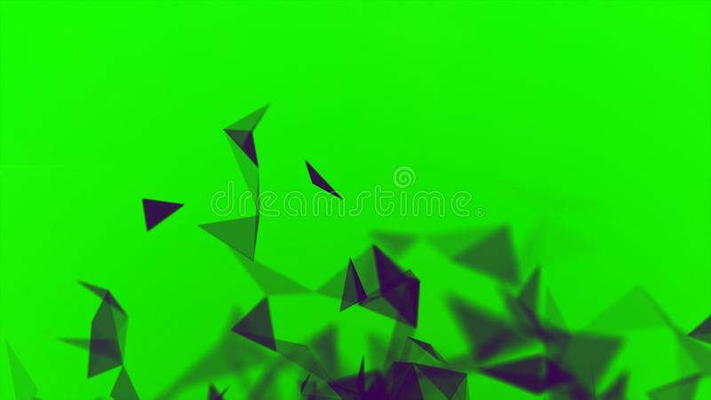 Colorful animation with moving triangles, crystal abstract painting. Stock. Small blinking black triangles blinking on. Colorful animation with moving triangles vector illustration