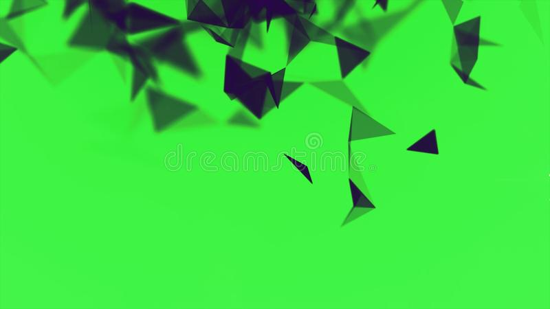 Colorful animation with moving triangles, crystal abstract painting. Stock. Small blinking black triangles blinking on. Colorful animation with moving triangles royalty free illustration
