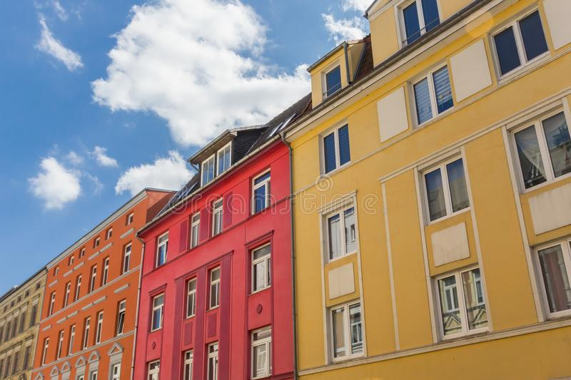 Colorful apartment building in the center of Schwerin royalty free stock photo