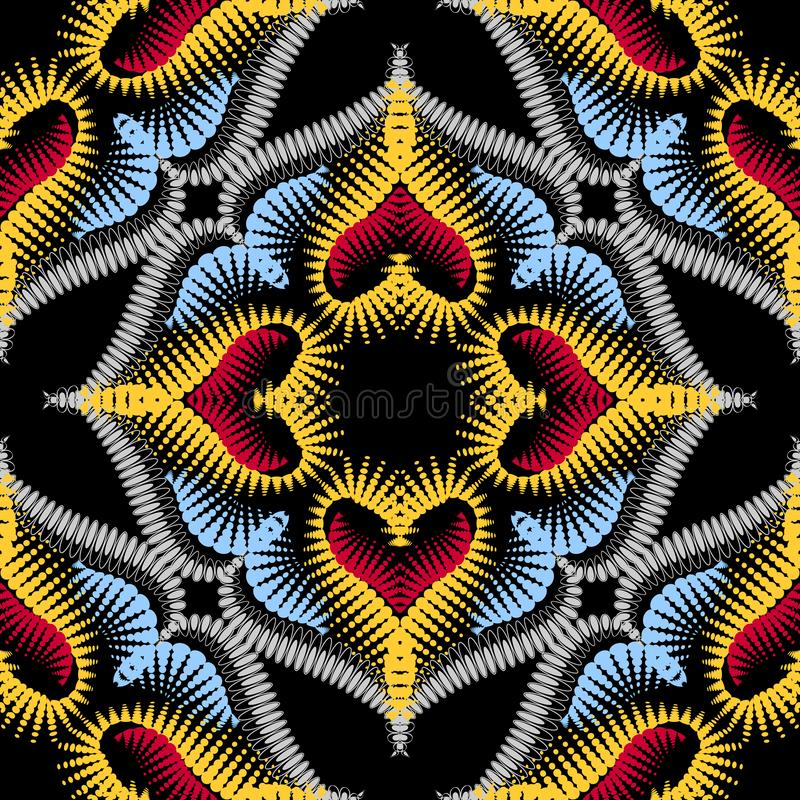 Colorful arabesque floral vector seamless pattern. Ornamental textured ethnic background. Dotted arabic ornament with. Flowers, leaves, dots, circles, love stock illustration