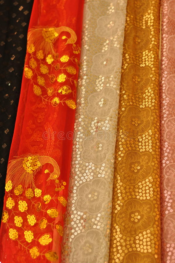 Colorful Arabic fabric. Details of colorful Arabic fabric material, Turkey stock photos