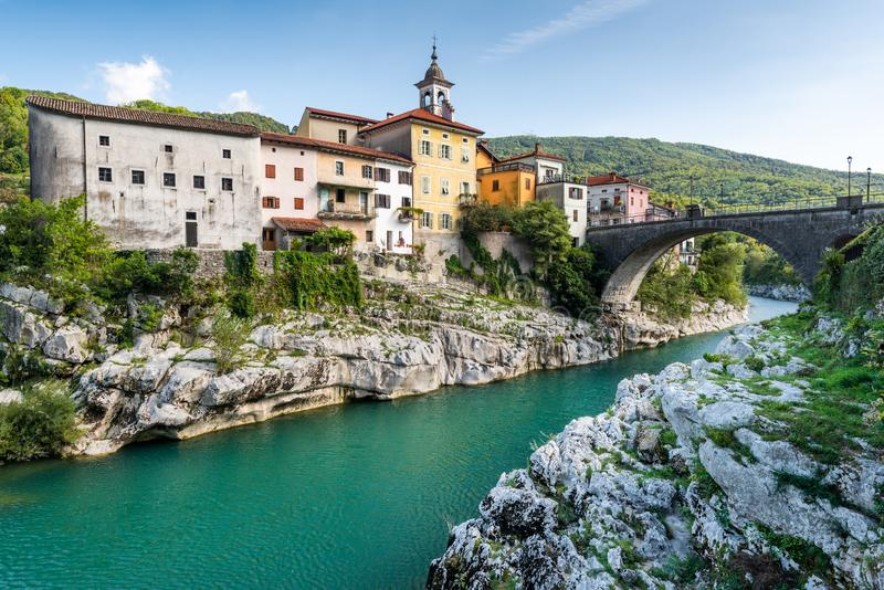 Colorful Architecture of Kanal Ob Soci Town in Slovenia at River Soca. Autumn, background, beautiful, bridge, building, city, cityscape, day, emerald, europe royalty free stock images
