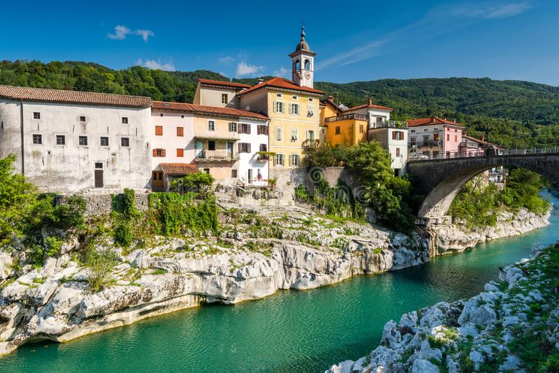Colorful Architecture of Kanal Ob Soci Town in Slovenia at River Soca. Autumn, background, beautiful, bridge, building, city, cityscape, day, emerald, europe stock image