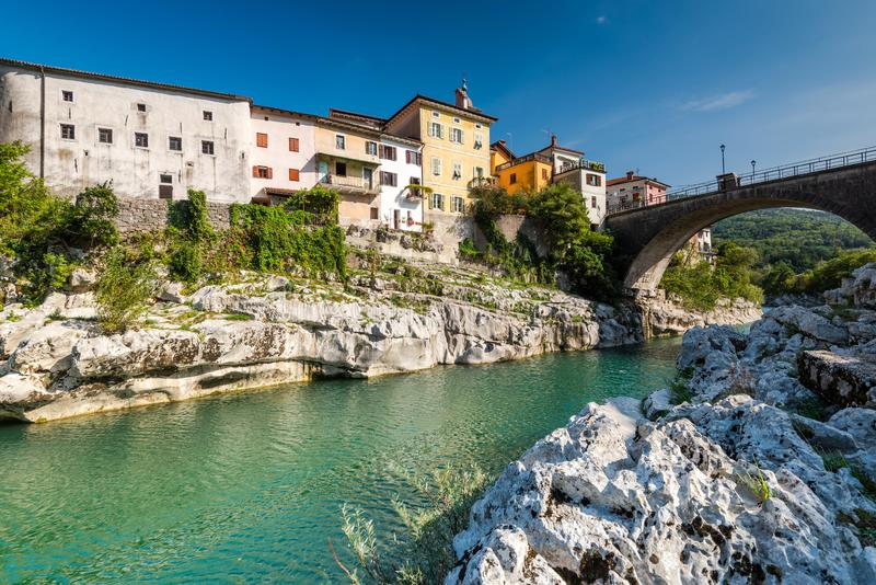 Colorful Architecture of Kanal Ob Soci Town in Slovenia at River Soca. Autumn, background, beautiful, bridge, building, city, cityscape, day, emerald, europe royalty free stock image