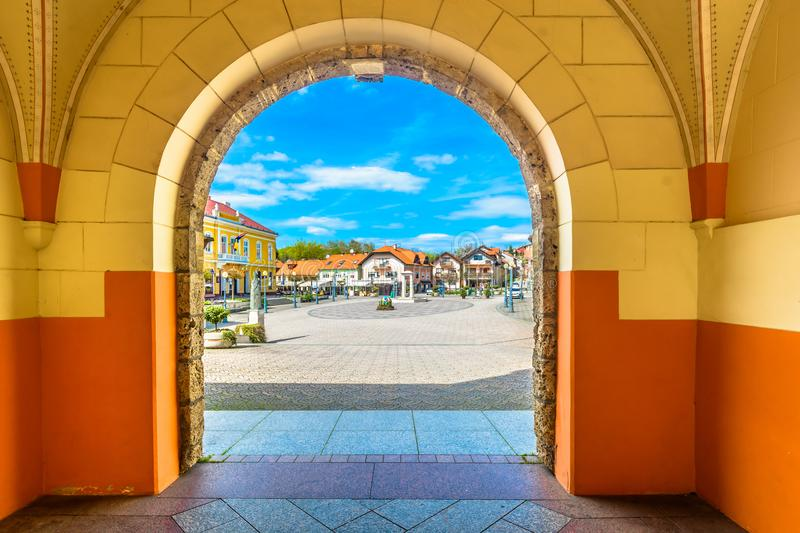 Colorful architecture in Marija Bistrica, Croatia. royalty free stock photography