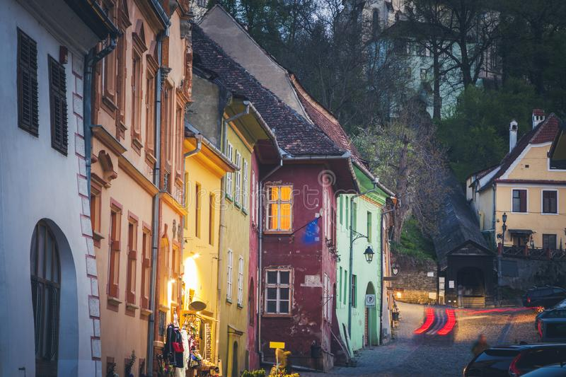 Colorful architecture of Sighisoara royalty free stock photos