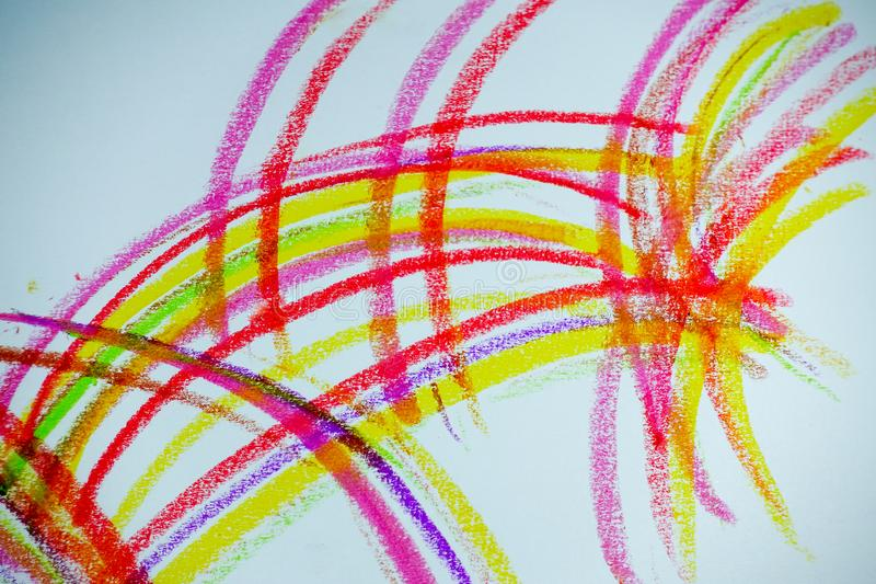 Colorful lines drawn with crayons royalty free stock photo