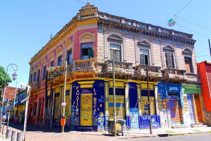 Colorful area in La Boca. BUENOS AIRES - NOV 24: Colorful area in La Boca neighborhoods on November 24, 2011 in Buenos Aires. Street is a major tourist royalty free stock photos
