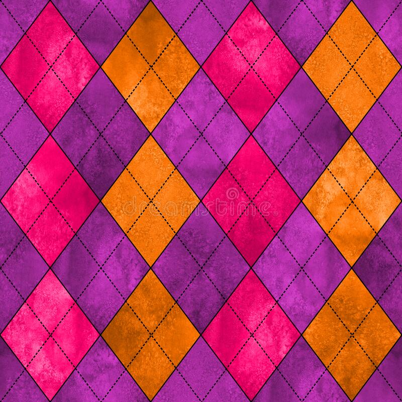 Colorful argyle seamless plaid pattern. Watercolor hand drawn texture background. Watercolour pink purple orange rhombus shapes background. Print for cloth vector illustration
