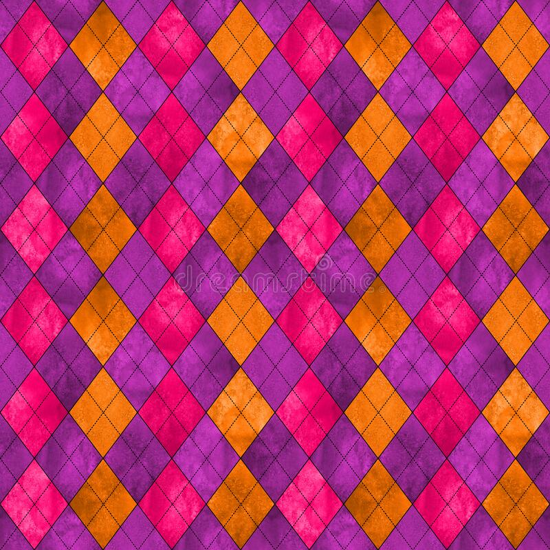 Colorful argyle seamless plaid pattern. Watercolor hand drawn texture background. Watercolour pink purple orange rhombus shapes background. Print for cloth stock photos