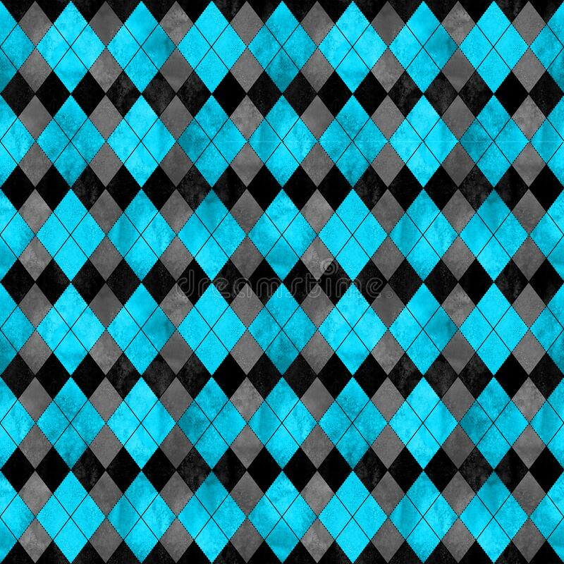 Colorful argyle seamless plaid pattern. Watercolor hand drawn texture background. Watercolour blue and black rhombus shapes background. Print for cloth design stock illustration