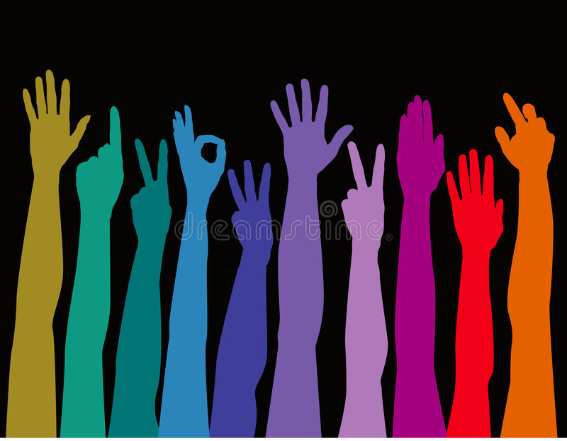 Download Colorful arms raised up stock vector. Image of blue, colorful - 7315263