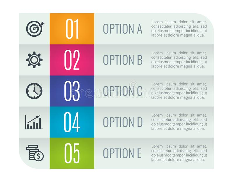 Colorful arrow design elements for business infographics. Vector illustration template with 5 steps, parts, options stock illustration