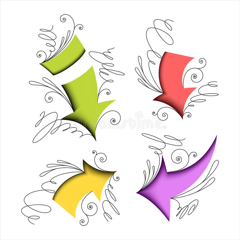 Colorful Arrows With Calligraphic Elements Royalty Free Stock Photography