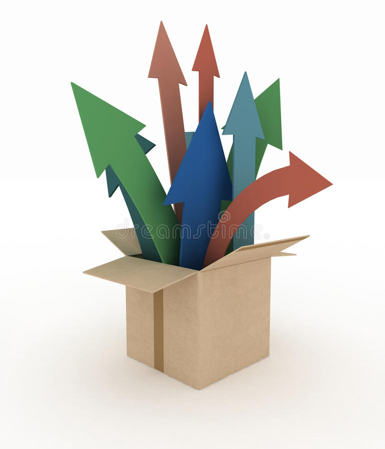 Free Colorful Arrows Emerge Out Of The Box Stock Photography - 58133762