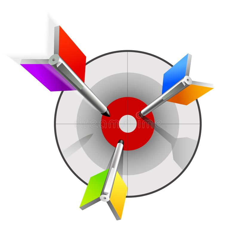 Colorful arrows flying to the target. royalty free illustration