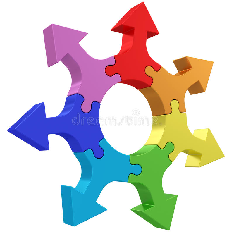 Colorful arrows joined into jigsaw puzzle wheel on white. High resolution 3D image vector illustration