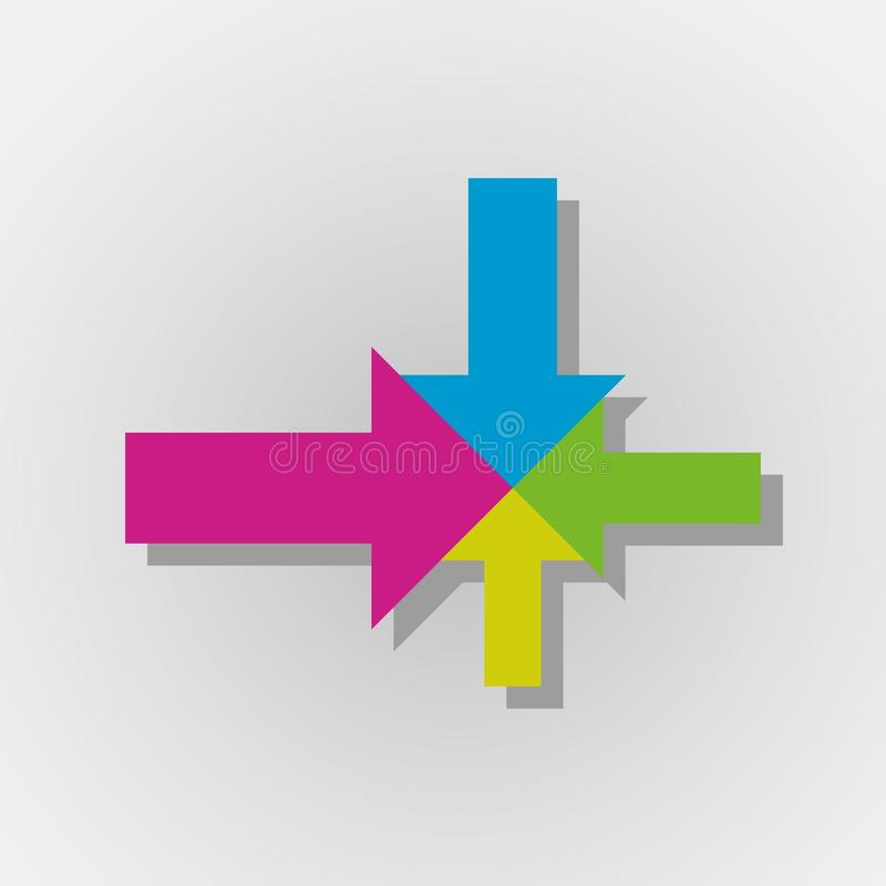 Colorful arrows with one center. Color arrows aiming to one center with gray gradient background royalty free illustration