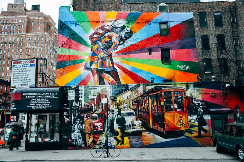 Colorful art on a building in Manhattan. stock photography