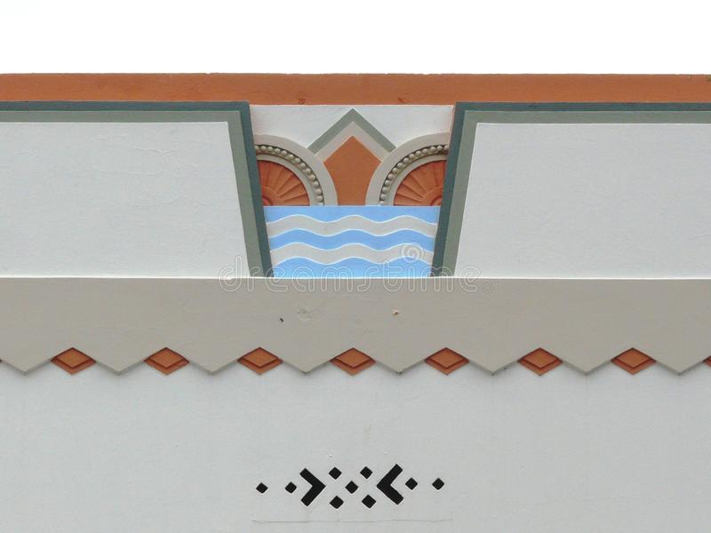 Colorful Art Deco feature on a building exterior royalty free stock photo
