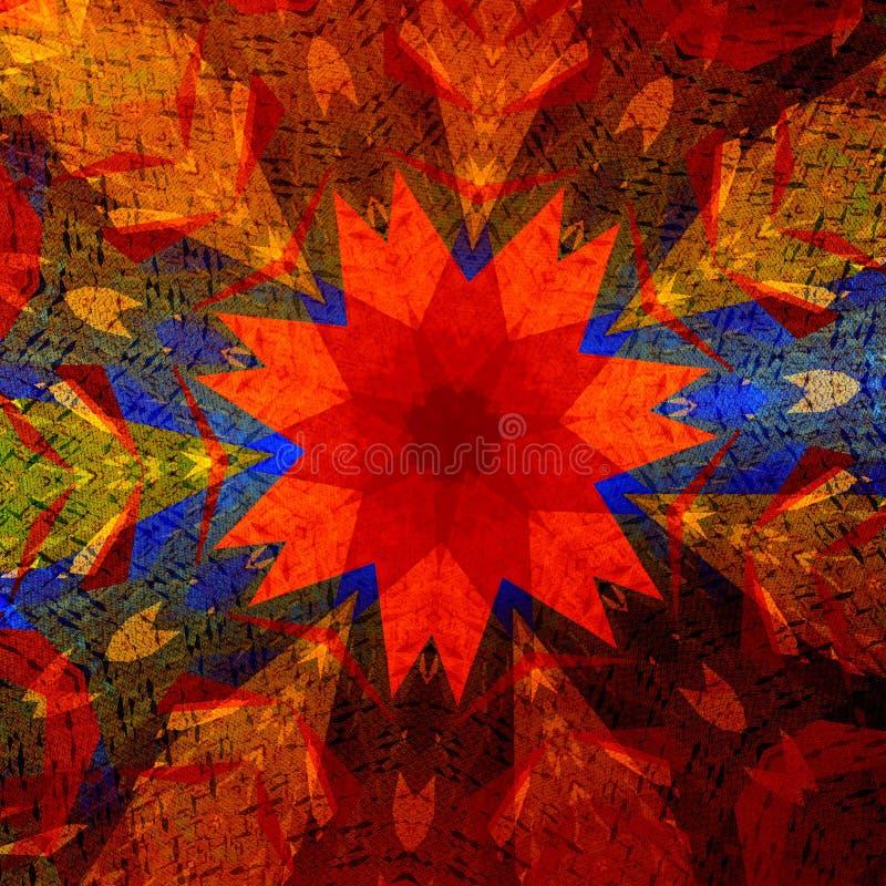 Colorful art illustration. Mandala background. Design element. Shapes rainbow colors. Abstract hinduism style pattern. royalty free illustration