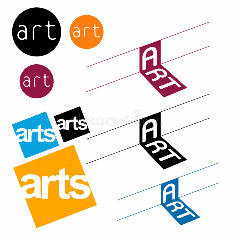 Colorful Art Symbols. An illustrated background with the word 'arts' in different designs, shapes and fonts, isolated on a white background stock illustration