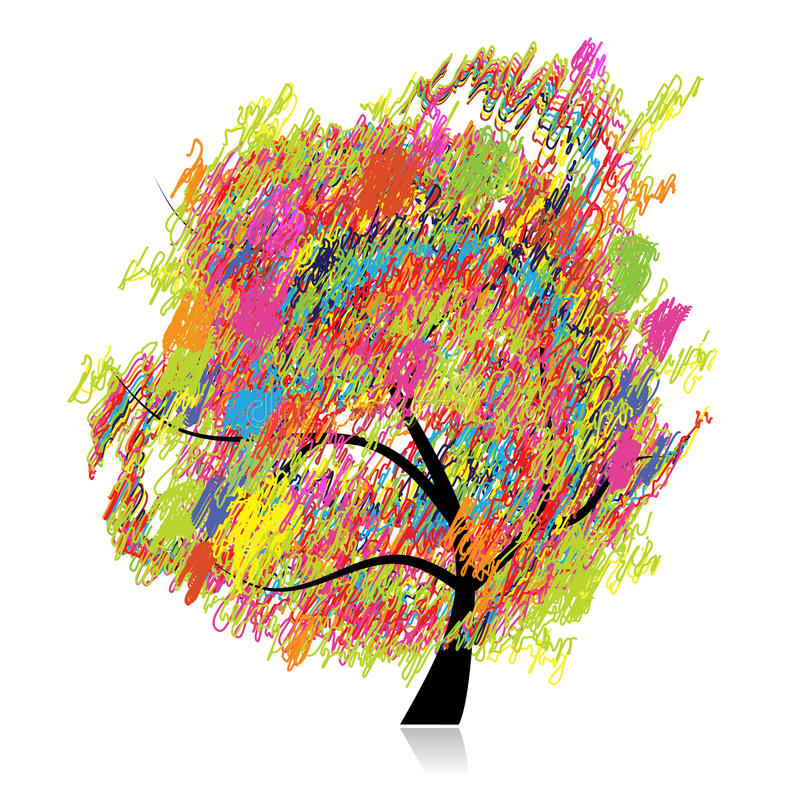 Colorful art tree, pencil sketch drawing