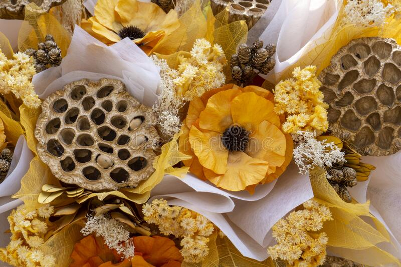 colorful of artificial flowers, colorful flowers bouquet, colorful of the plastic and fabric flowers. Dried flowers stock photos